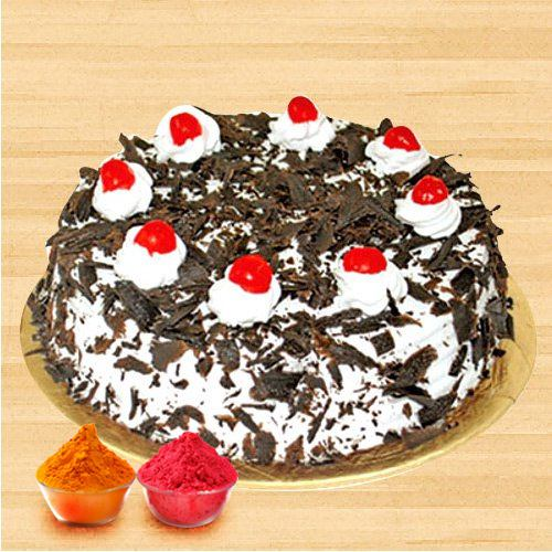 Scrumptious Black Forest Cake with free Gulal/Abir Pouch