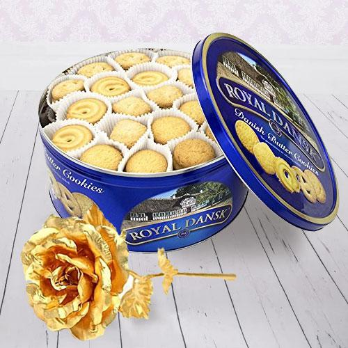 Crispy Christmas Cookies and Gold Rose Combo