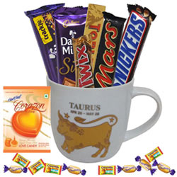 Attractive Mug with Taurus Sun Sign Print along with Tasty Chocolates Gift Collection
