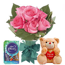 Exotic Pink Rose Hand Bunch, Small Teddy and Mini Cadbury Celebration