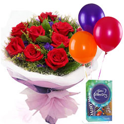 Little Luxury Gift of Red Roses Bouquet, Balloons and Cadbury Celebration Mini