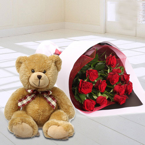 Cute Arrangement of Teddy and Red Roses