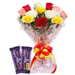 Attentive Combo of Mixed Roses Bouquet N Dairy Milk Crackle