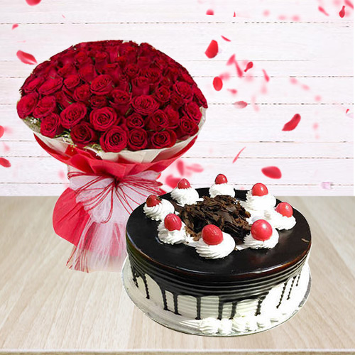 Delicate 50 Red Roses Arrangement with 1/2 Kg Black Forest Cake