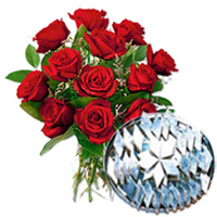 Darling Red Roses together with ambrosial Kaju Barfi