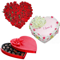 Vibrant 24 Red Roses with 1/2 Kg Heart Shaped Cake and Heart Shaped Chocolate Box