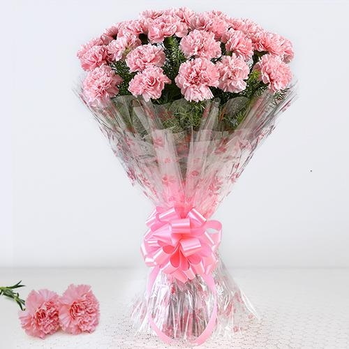 Breathtaking 12 Pink Carnations Bouquet with Love