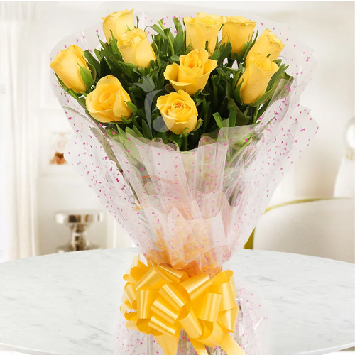 Vibrant Ready for Romance 10 Yellow Roses Bunch