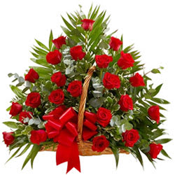 Blossoming Basket of 30 Roses in Red Colour
