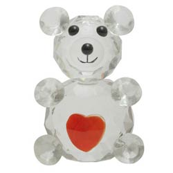 Cute Crystal Made Love Teddy with Heart