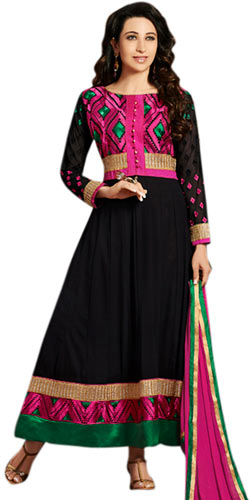 Spectacular Black and Pink Coloured Anarkali Salwar Kameez
