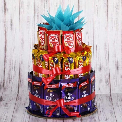 Enticing 3 tier Arrangement of Assorted Chocolates