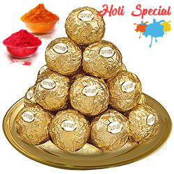 Daintily Arranged Ferrero Rocher Chocolates in a Golden Plated Thali
