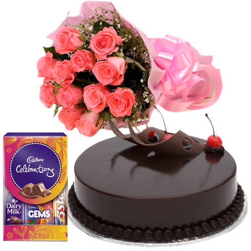 Cadbury Celebrations Pack with Chocolate Cake N Pink Roses
