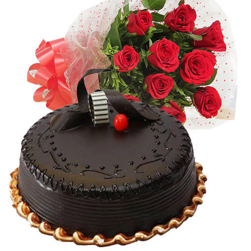 Finest Red Roses Bunch with Chocolate Truffle Cake