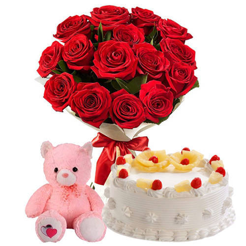 Luminous Roses Bunch with Pineapple Cake   Teddy