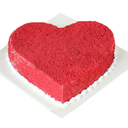 Fresh Heart-Shaped Red Velvet Cake
