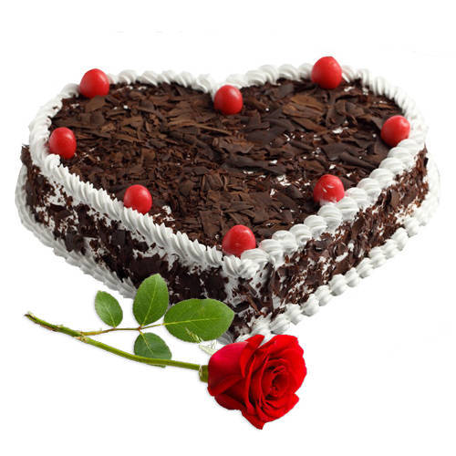 Delicious Heart Shape Black Forest and Rose Combo