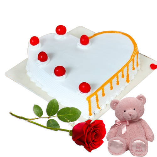 Combo of Teddy with Rose   Heart Shaped Vanilla Cake