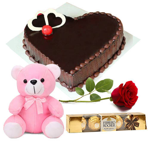 Red Rose with Teddy, Chocolate Cake N Ferrero Rocher