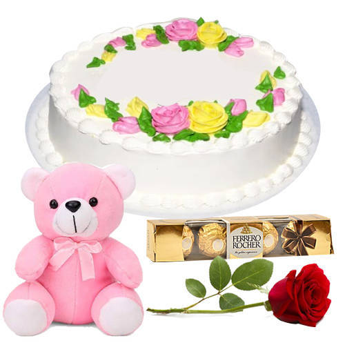 Yummy Vanilla Cake with Teddy, Rose N Ferrero Rocher