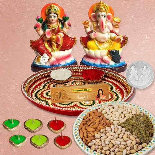 Laxmi Pooja Complete Hamper with Dry Fruits with free silver plated coin for Diwali