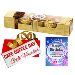 Remarkable Selection Of Ferrero Rocher Chocolate Pack With CCD Voucher Birthday Card