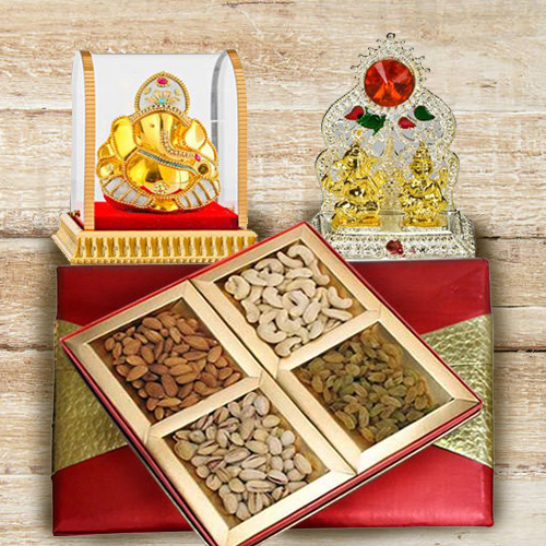 Exclusive Puja Mandap with Ganesh Murti and Assorted Dry Fruits Box