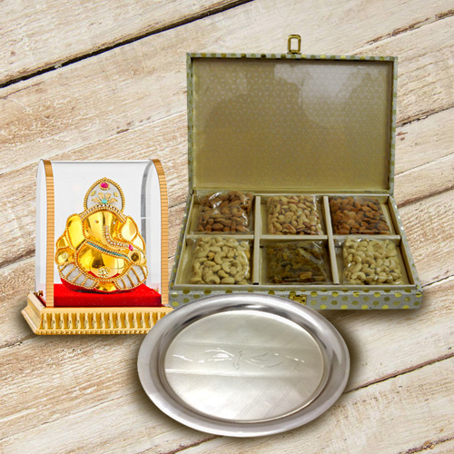 Divine Lord Ganesha with Silver Plated Thali N Dry Fruits