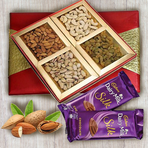 Tempting Dry Fruit Gift Box with Dairy Milk Silk Chocolates