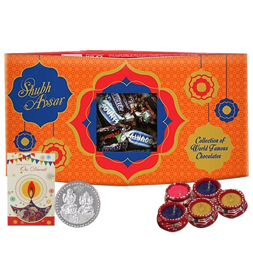 Adorable Diwali Gift Pack of Chocolates with Diwali Greetings Card