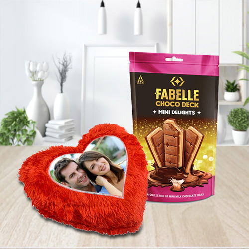 Premium ITC Fabelle Mini Delight Chocolate with Personalized Cushion