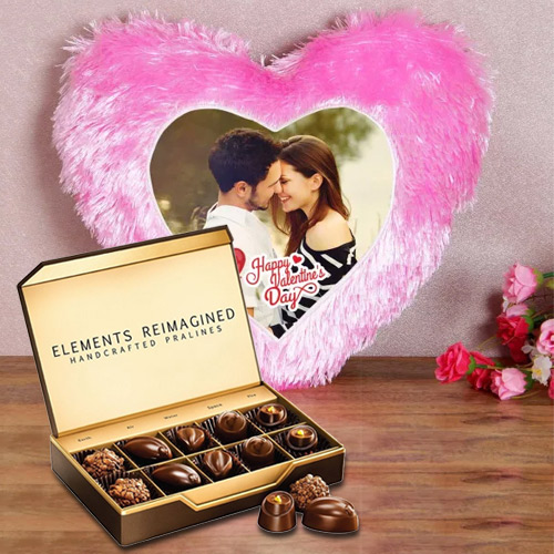 Stylish Personalized Heart Shape Cushion with ITC Premium Chocolates