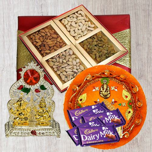 Assorted Dry Fruits with Pooja Thali, Ganesh Idol N Chocolates