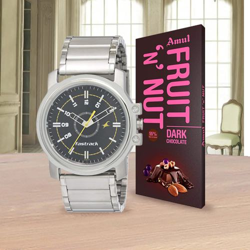 Fastrack Mens Watch N Amul Chocolate