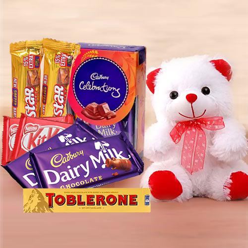 Marvelous Chocolate Delight Gift Pack with Teddy