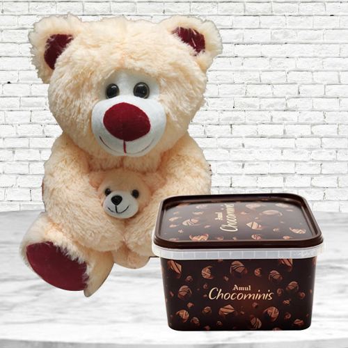 Birthday Delight of Amul Chocolates & Bear with Baby Soft Toy