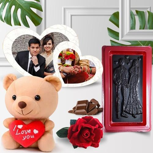 Eye-Catching Gift of Twin Heart Personalized Photo Frame with Teddy n Chocolate for Loving Wife