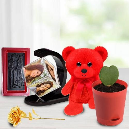 Beautifying V-day Gift of Personalized Photo Revolving Stand with Plant, Chocolate n Roses