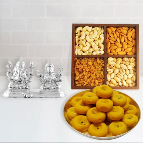 Delightful Silver Plated Ganesh Lakshmi with Dry Fruits and Sweets