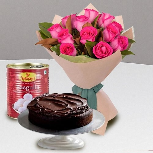 Combo of Pink Roses and Haldiram Rasgulla with Eggless Chocolate Cake
