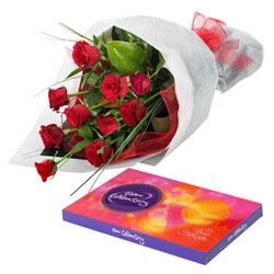 Cadbury Celebrations with Red Roses Bunch