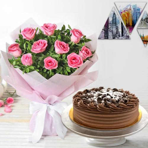 Sweet 10 Pink Roses and 1/2 Kg Eggless Chocolate Cake