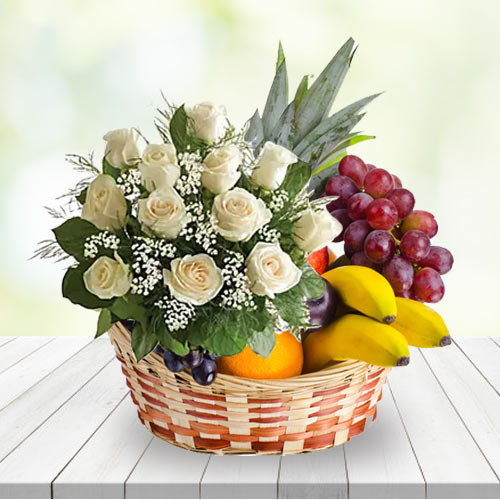 Stunning Basket of White Roses N Fruits