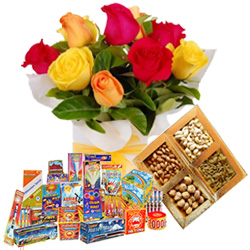 Overwhelming Hamper of Dry Fruits, 12 Pcs Mixed Roses and Crackers