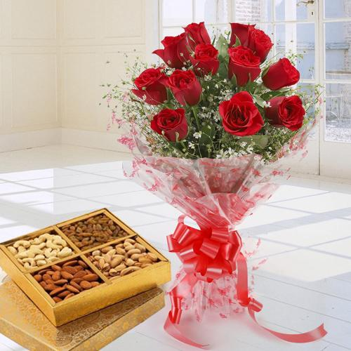 Joyful Bouquet Decked with Dozen Red Roses with Assorted Dry Fruits