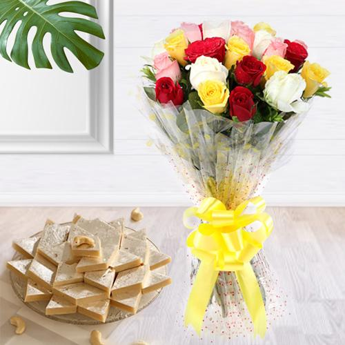 Assorted Roses Hand Bunch with Kaju Barfi