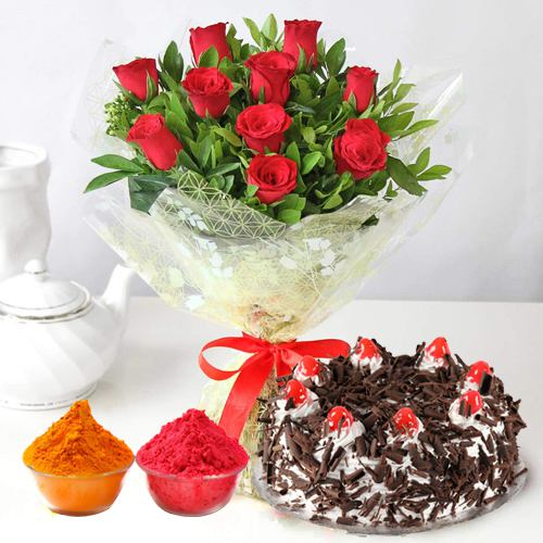 Charming Red Roses along with delicious Black Forest Cake