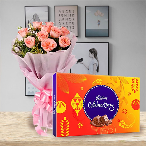 Special Combo of Pink Rose Bouquet with Cadbury Celebrations Pack