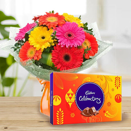 Yummy Cadbury Celebrations with Bouquet of Mixed Gerberas